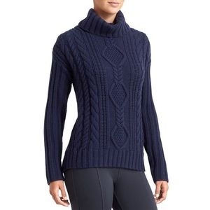 Athleta blue cable knit turtle neck sweater XS